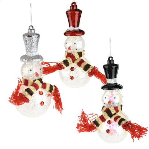 Glittered Snowman with Scarves Christmas Ornaments, 6-1/2-Inch, 3-Piece