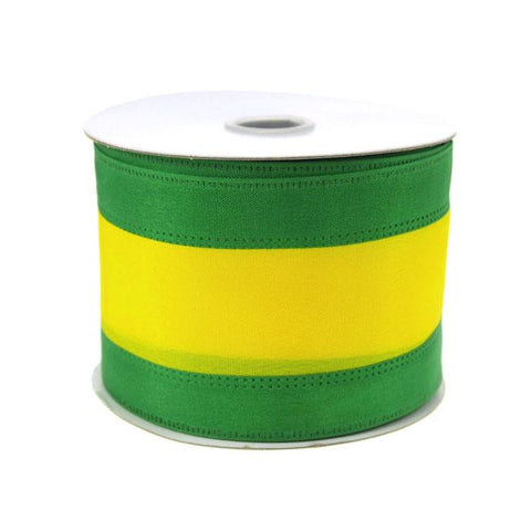 Stripe Sport Theme Ribbon Wired Edge, 2-1/2-inch, 10-yard, Green/Yellow