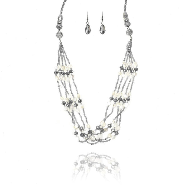 Long Beaded Gem and Stone Necklace Set, 34-Inch
