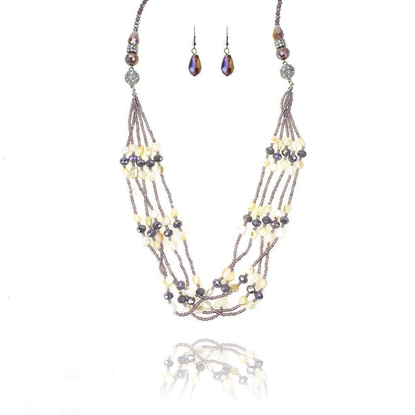 Long Beaded Gem and Stone Necklace Set, Lavender, 34-Inch