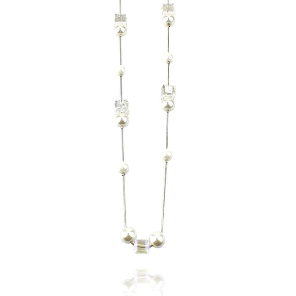 Long Square Beaded Necklace, Clear, 34-Inch