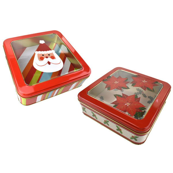 Christmas Santa and Poinsettia Square Tins, 8-Inch, 2-Piece