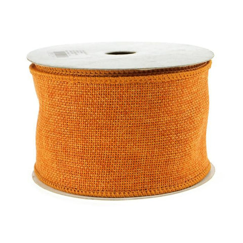 Faux Burlap Wired Edge Ribbon, 2-1/2-inch, 10-yard, Orange