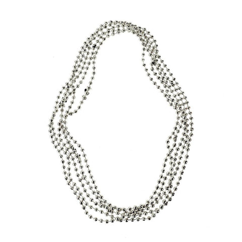 Plastic Bead Faceted Necklace, Silver, 15-1/2-Inch, 5-Count