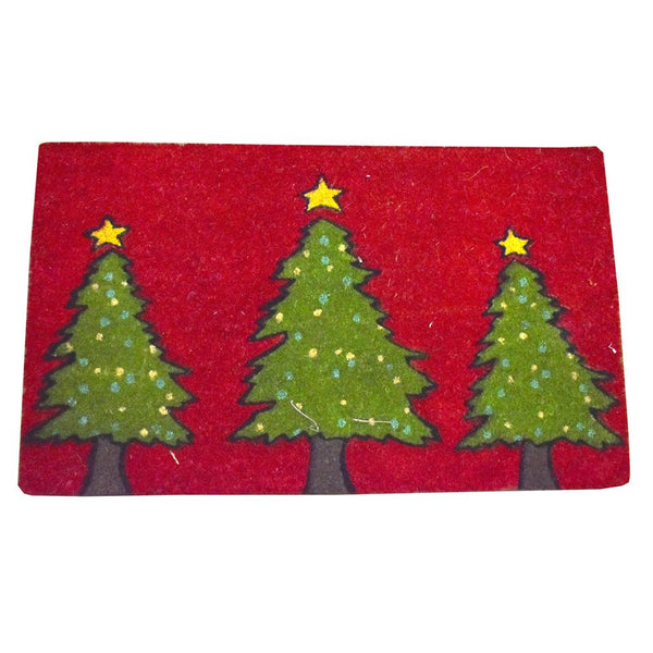Three Pine Trees Christmas Coir Doormat, 29-1/2 x 18-Inch