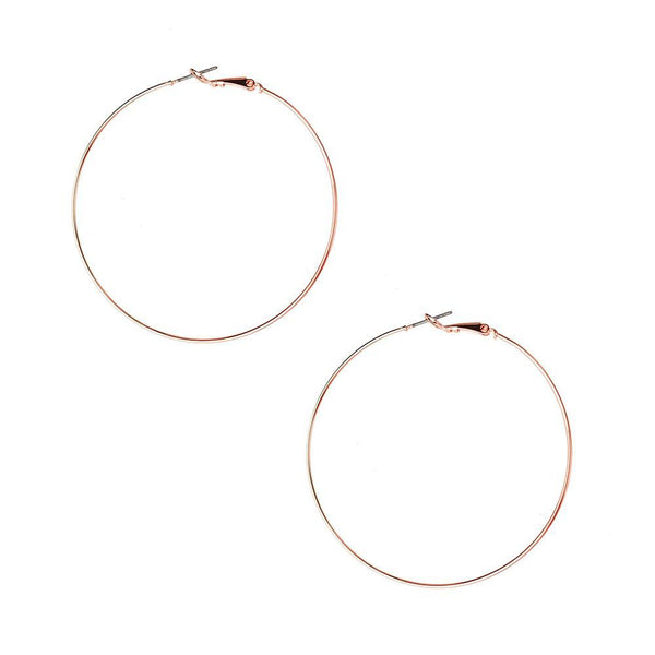 Surgical Steel Gold Plated Hoop Earrings, Rose Gold, 2-1/4-Inch