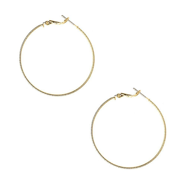 Textured Surgical Steel Gold Plated Hoop Earrings, Gold, 1-5/8-Inch