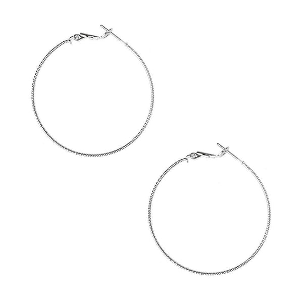 Textured Surgical Steel Gold Plated Hoop Earrings, Silver, 1-5/8-Inch