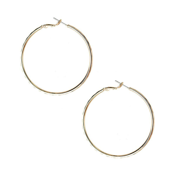 Hammered Gold Dipped Hoop Earrings, 1-7/8-Inch