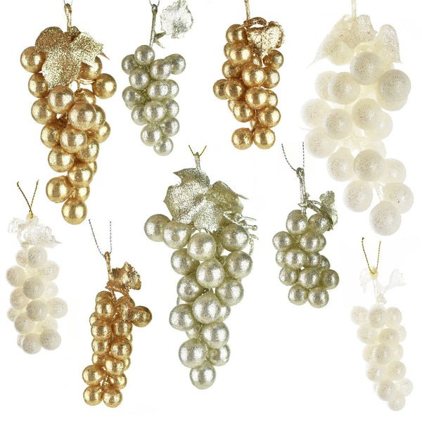 Glittered Grape Bunch Christmas Ornaments, 9-Piece