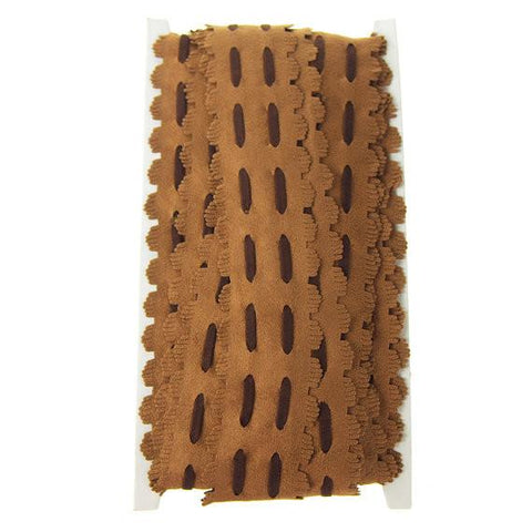 Suede Fringe with Saddlle Stitch, 1-1/2-Inch, 10 Yards, Brown