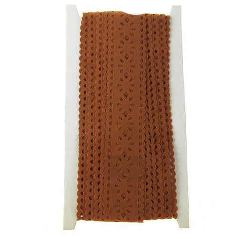 Suede Eyelet Trim with Scalloped Edge, 1-1/4-Inch, 10 Yards, Brown