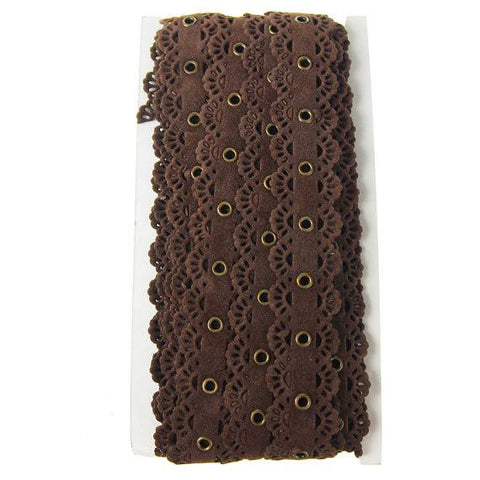 Suede Cut Eyelet Scalloped Edge with Grommet, 2-1/2-Inch, 10 Yards, Dark Brown