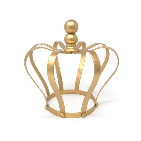 Gold Metal Crown Cake Topper Centerpiece, 8-Inch