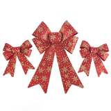 Glitter Snowflake Print Plastic Christmas Bows, Red/Gold, 6-Piece