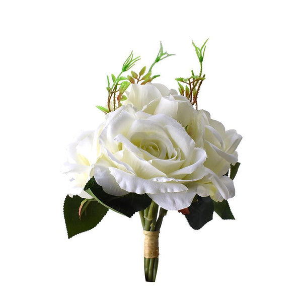 Artificial Rose Bouquet, White,11-Inch