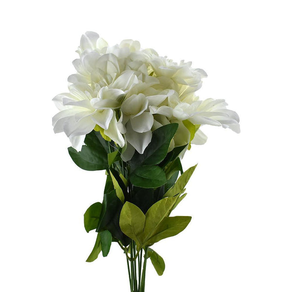 Artificial Dahlia Flowers Spray, 19-Inch, White