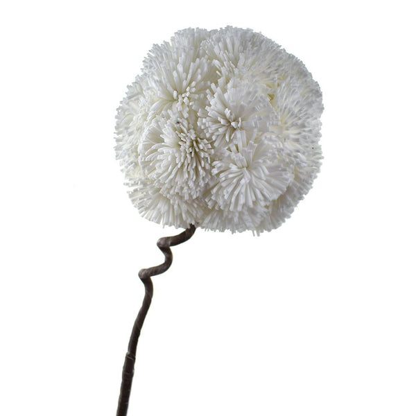 Tall Foam Allium Flower with Twist-able Stem, White, 34-Inch