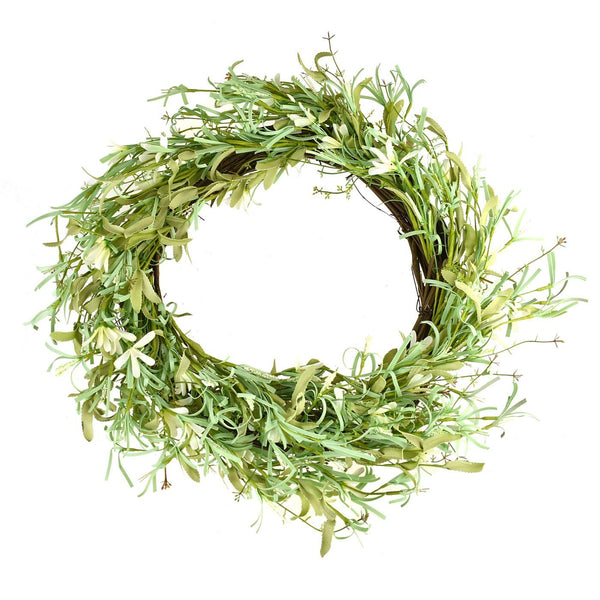Artificial Foam Wild Flower Wreath, Cream, 18-Inch