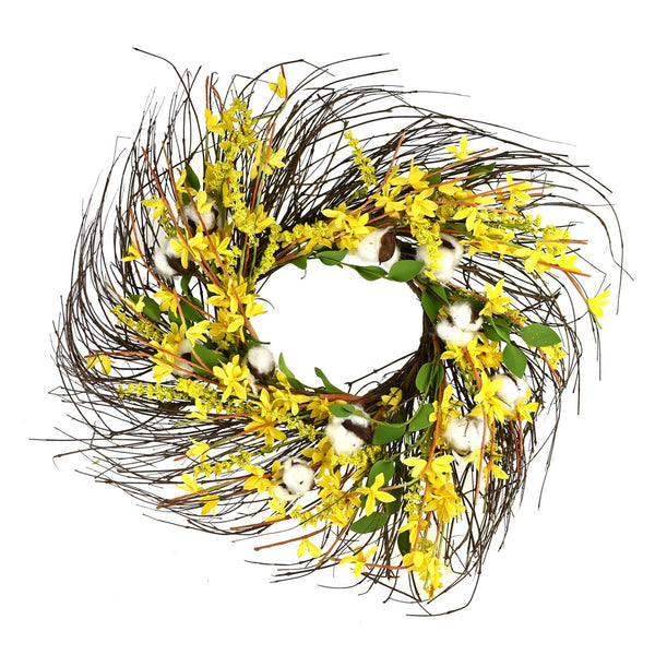 Wrapped Twig Silk Forsythia Cotton Wreath, Yellow, 22-Inch