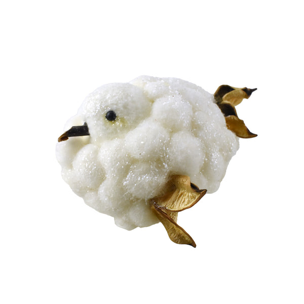 Glittered Cotton Ball Bird Figure, 4-1/2-Inch