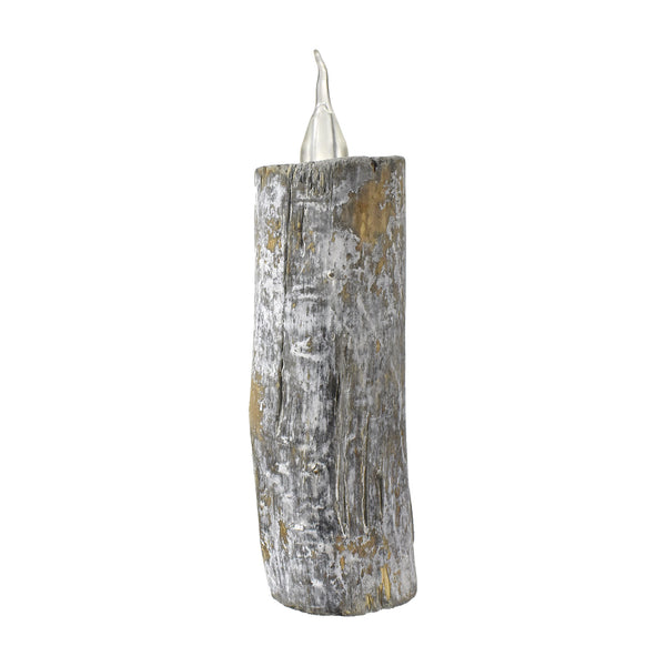 Artificial Wooden Log Faux Candle, 7-1/4-Inch
