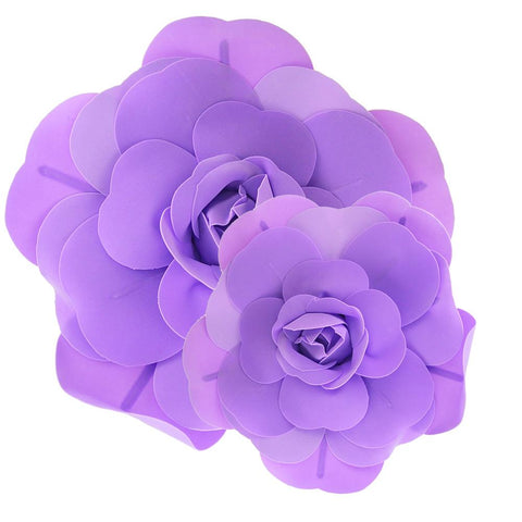Rose Foam Wall Flowers, Lavender, Assorted Sizes, 2 Piece