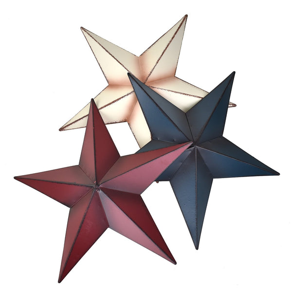 Large Rustic Metal Star Wall Decor, Assorted Colors, 22-Inch, 3-Piece