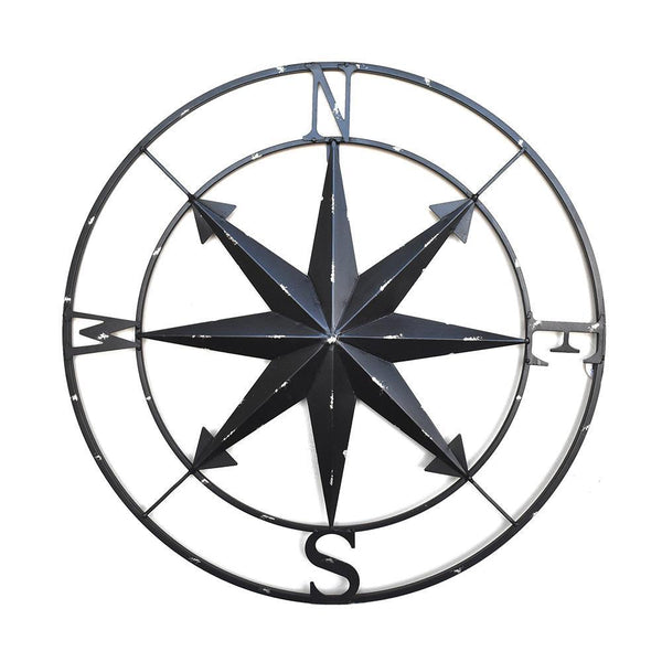 Metal Compass Wall Hanging Sculpture, Black, 28-Inch