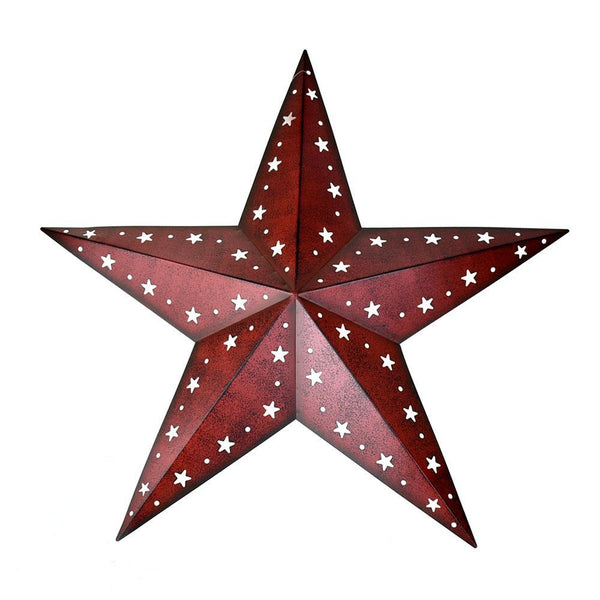 Large Metal Punch Out Star Wall Decor, Red, 24-Inch