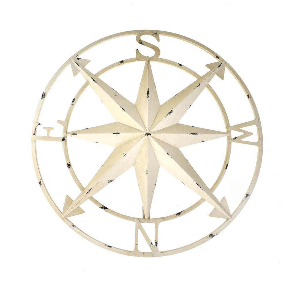 Large Rustic Compass Wall Decor Ivory 20 Inch