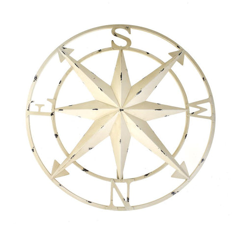 Large Rustic Compass Wall Decor, Ivory, 20-Inch