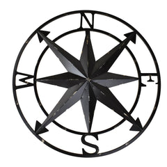 Large Rustic Compass Wall Decor, Black, 20-Inch