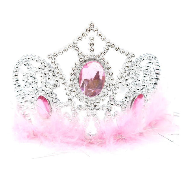 Plastic Princess Gemstone Tiara with Boa, Silver/Pink, 4-1/2-Inch
