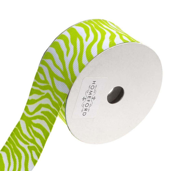 Zebra White Grosgrain Ribbon, 1-1/2-Inch, 4-Yard, Lime
