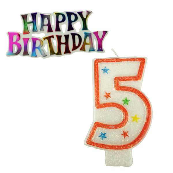 Glitter Number 5 Candle and Happy Birthday Sign, 3-3/8-Inch, 2-Piece