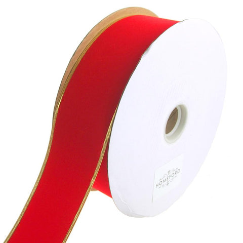 Waterproof Gold-Trimmed Velvet Wired Christmas Holiday Ribbon, Red, 2-1/2-Inch, 50 Yards
