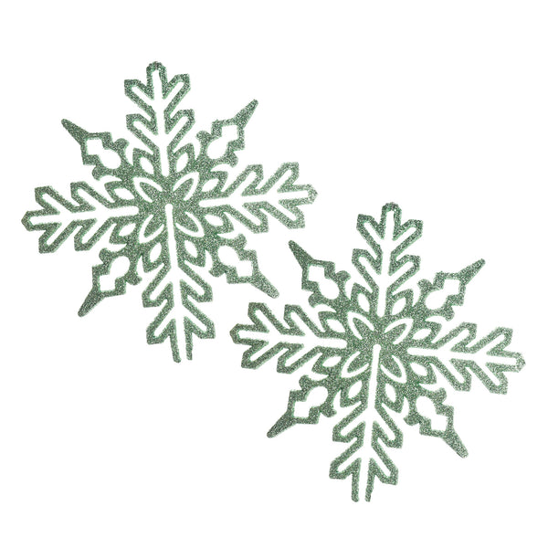 Glittered Flat Snowflake Christmas Ornaments, 6-1/2-Inch, 2-Count