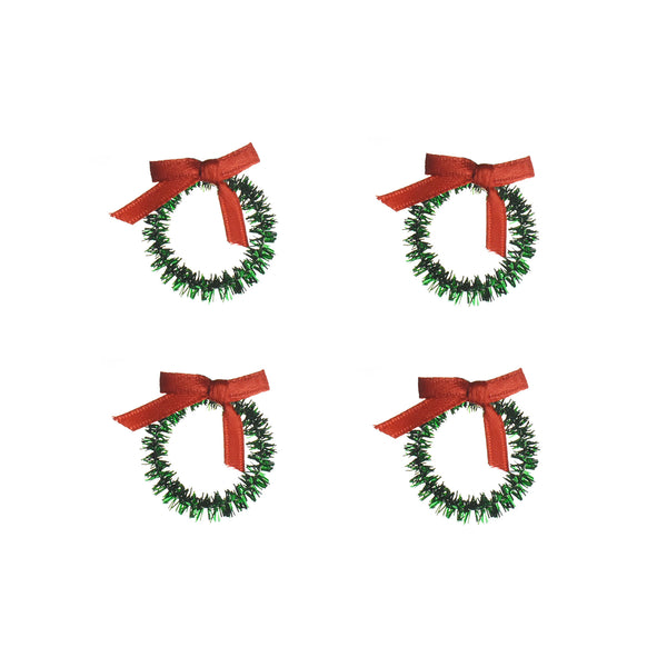 Miniature Round Tinsel Wreath Ornaments, 3/4-Inch, 4-Count