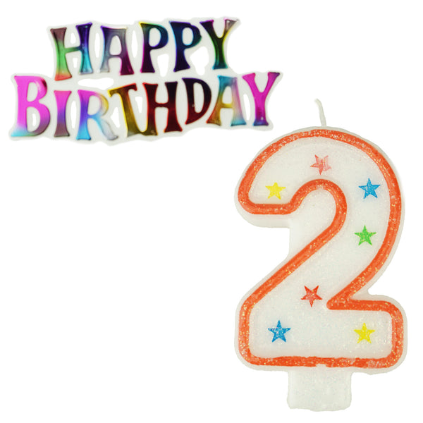 Glitter Number 2 Candle and Happy Birthday Sign, 3-3/8-Inch, 2-Piece