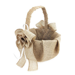 Burlap Flowers and Bows Flower Girl Basket, 7-1/2-Inch, Natural