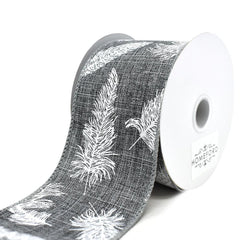 Feathers Linen Wired Ribbon, Grey, 2-1/2-Inch, 10-Yard