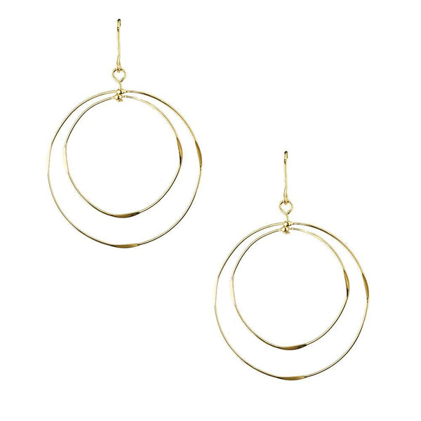 Concentric Circle Drop Earrings, Gold, 1-1/2-Inch