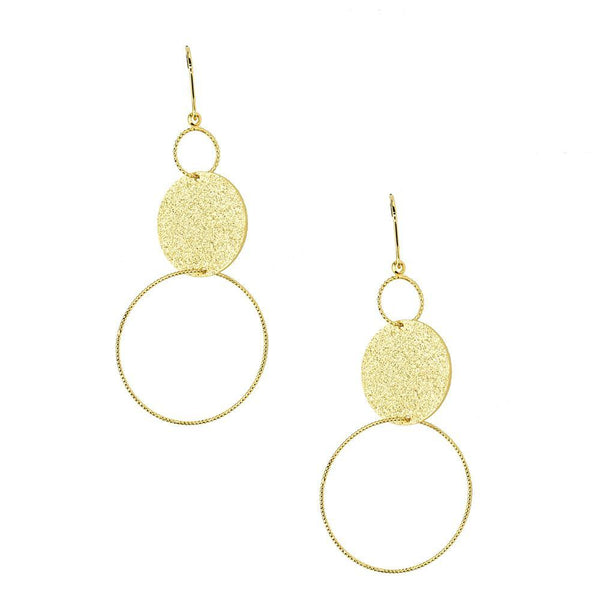 Geometric Textured Circle Drop Earrings, Gold, 2-Inch