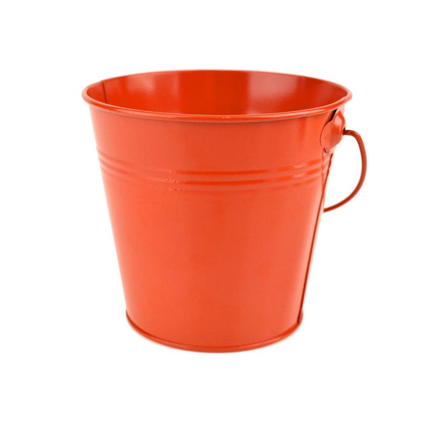 Metal Pail Bucket Party Favor, Vermilion Orange, 5-Inch - Great for Spooky Halloween!