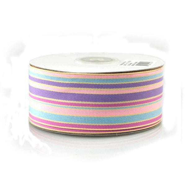 Rainbow Striped Grosgrain Ribbon, 1-1/2-Inch, 25 Yards, Multi-Lavender