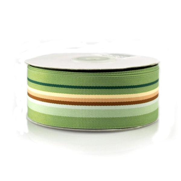 Rainbow Striped Grosgrain Ribbon, 1-1/2-Inch, 25 Yards, Multi-Moss Green