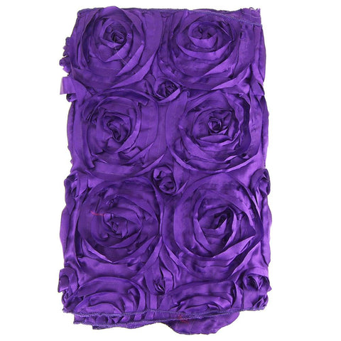 Satin Rosette Table Runner with Serged Edge, Purple, 14-Inch x 108-Inch