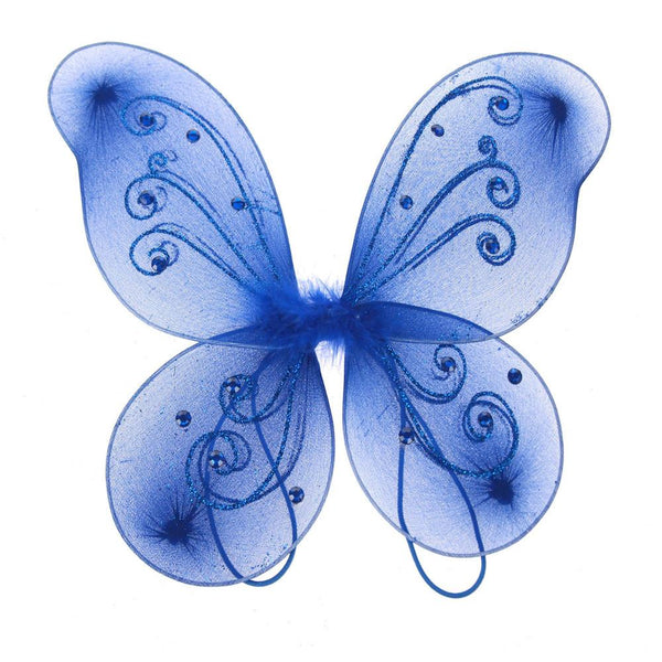 Organza Nylon Butterfly Wings with Glitters, 12-Inch, Royal Blue
