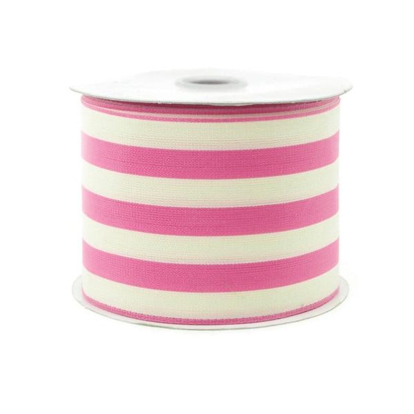 Striped Cotton Ivory Ribbon, 2-1/2-Inch, 10 Yards, Pink